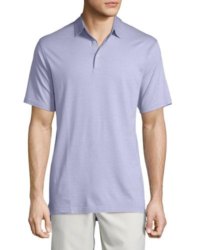 Short-Sleeve Pique Polo Shirt, Lilac