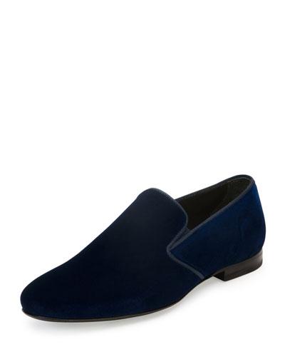 Velvet Slip-On Loafer, Blue