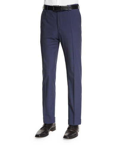 Benson Standard Fit Plaid-Seersucker Trousers, Navy