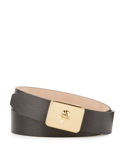 Skull Plate Buckle Belt, Black