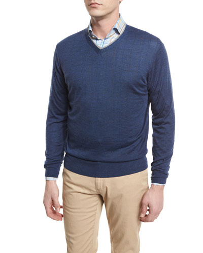 V-Neck Tipped Pullover Sweater, Arno Blue