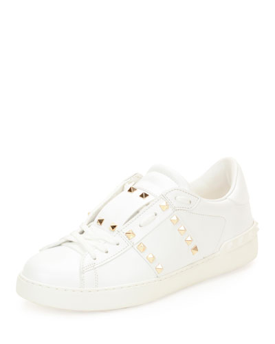 Rockstud Low-Top Leather Sneaker, White
