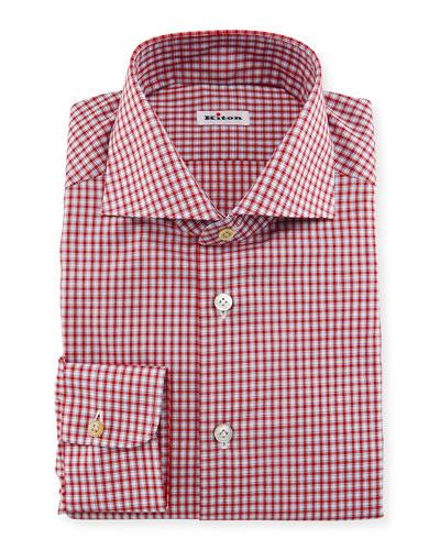 Box-Check Woven Dress Shirt, Red