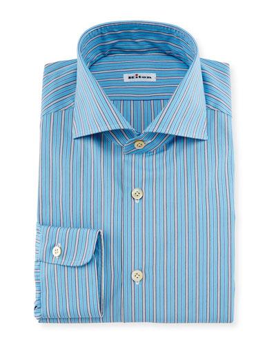 Alternating Wide-Striped Dress Shirt, Aqua