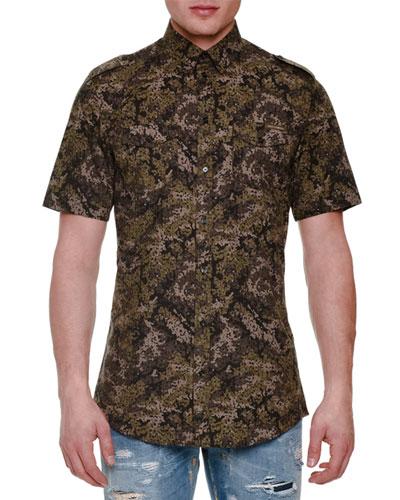 Pixel Camo-Print Short-Sleeve Woven Shirt, Olive
