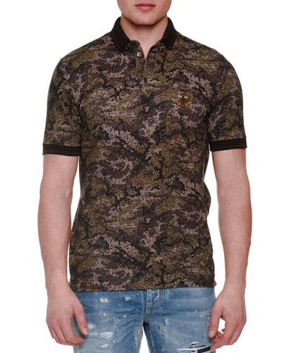 Pixel Camo-Print Short-Sleeve Polo Shirt, Olive
