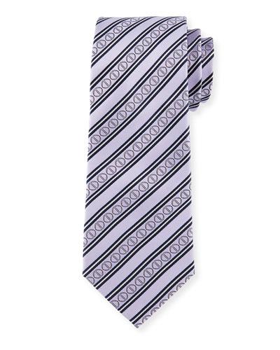 Icon Stripes Silk Tie, Purple
