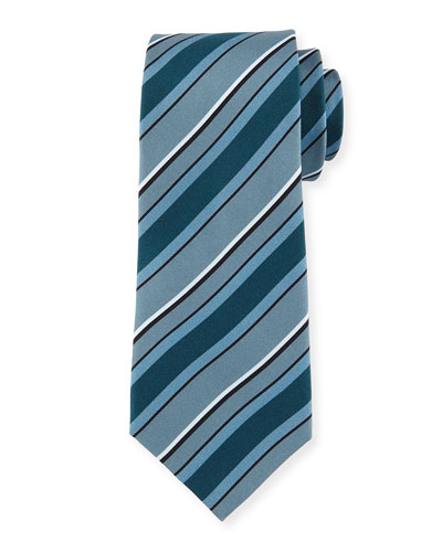 Regimental Silk Tie, Gray