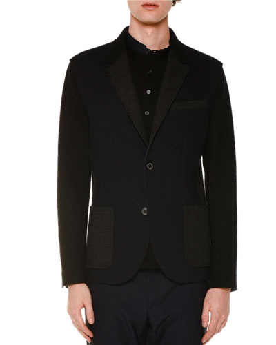 Mixed Media Two-Button Wool Jacket, Navy