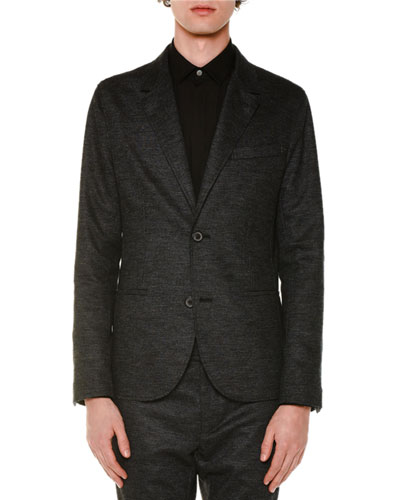 Tonal-Check Two-Button Wool Jacket, Charcoal