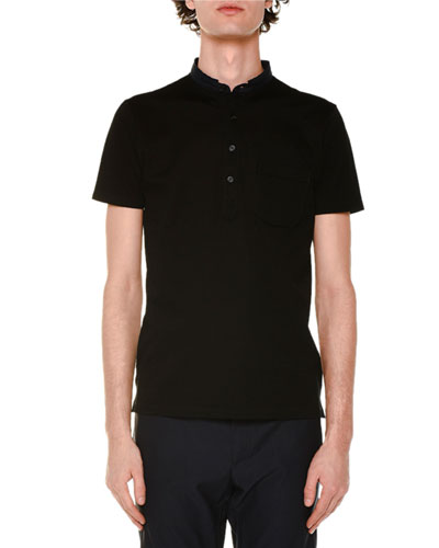 Wool Cut-Collar Short-Sleeve Polo Shirt, Black