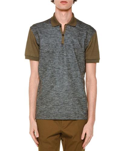 Melange-Front Short-Sleeve Polo Shirt, Taupe
