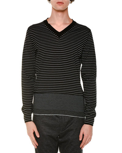 Striped V-Neck Wool Sweater, Black