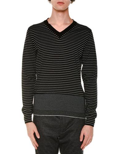Striped V-Neck Wool Sweater, Black