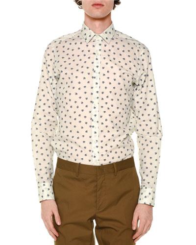 Allover Spider-Print Long-Sleeve Shirt, White