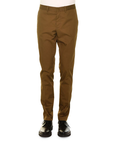 Basic Flat-Front Chino Pants, Khaki