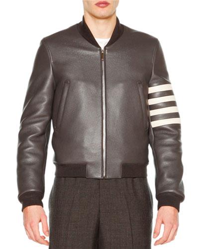 Leather Zip-Up Varsity Jacket, Dark Gray