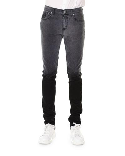 Five-Pocket Degrade Slim-Fit Denim Jeans, Gray