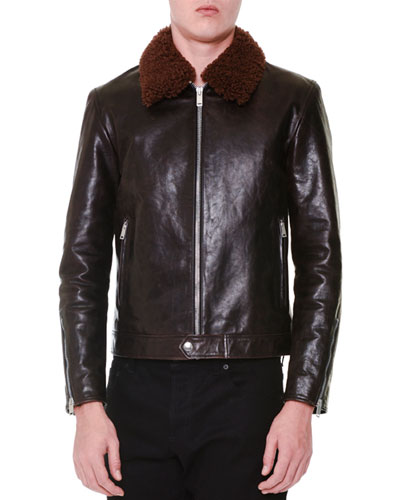 Leather Jacket with Removable Fur Collar, Brown