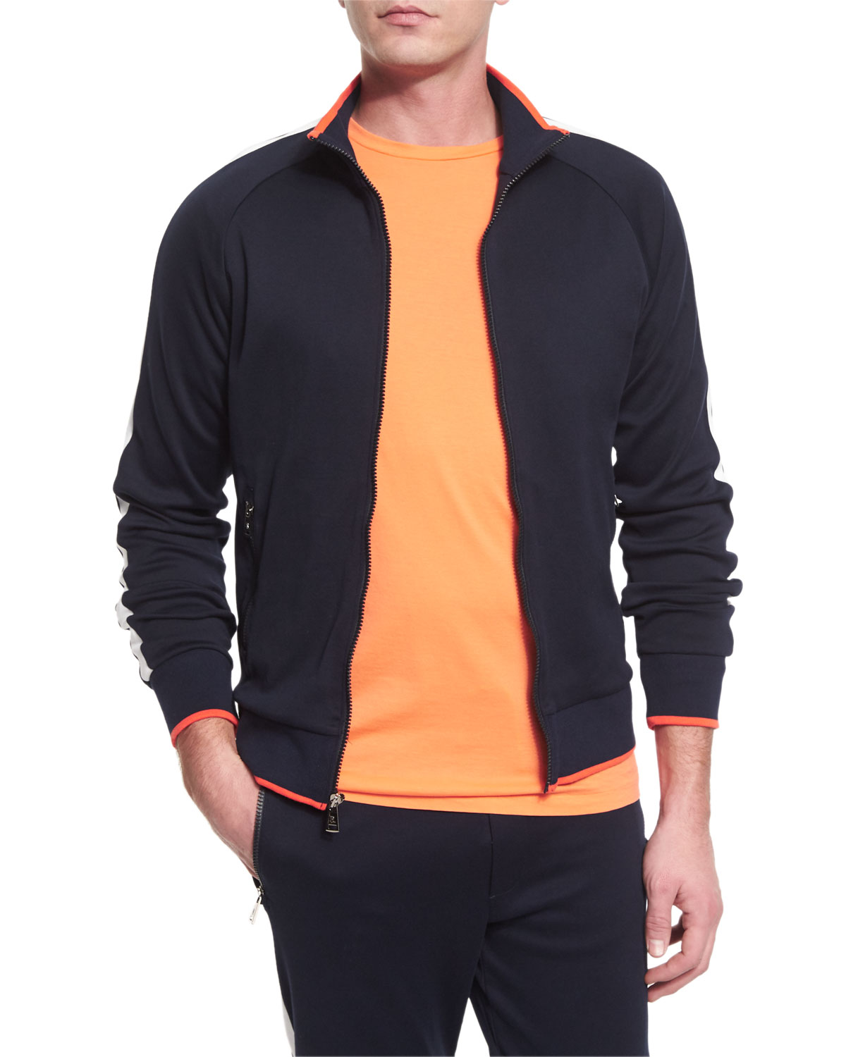 Colorblock Zip-Up Jersey Track Jacket, Navy