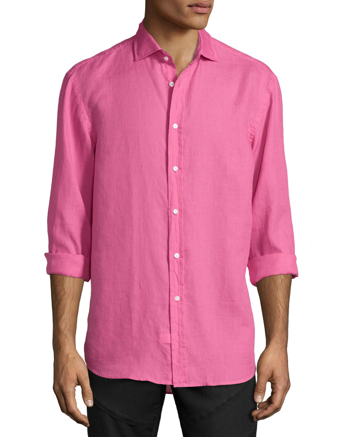 Solid Linen/Cotton Long-Sleeve Sport Shirt, Pink