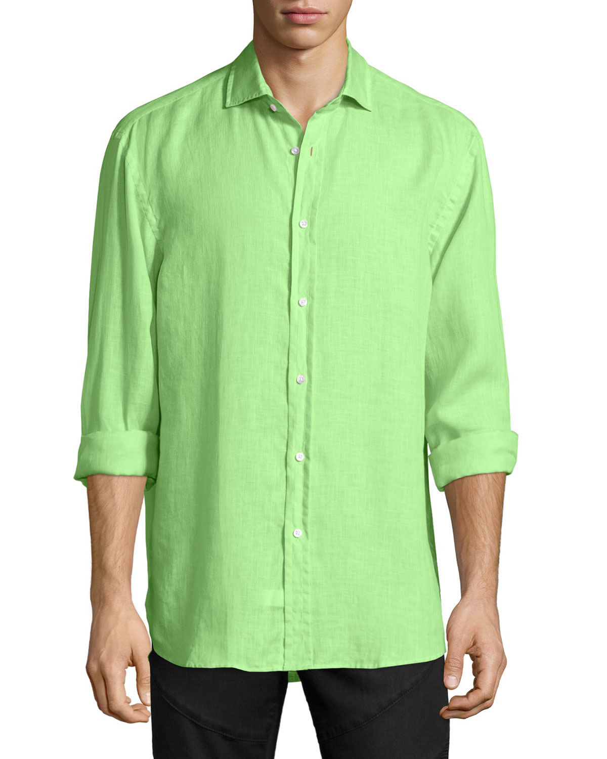 Solid Linen Long-Sleeve Sport Shirt, Spearmint
