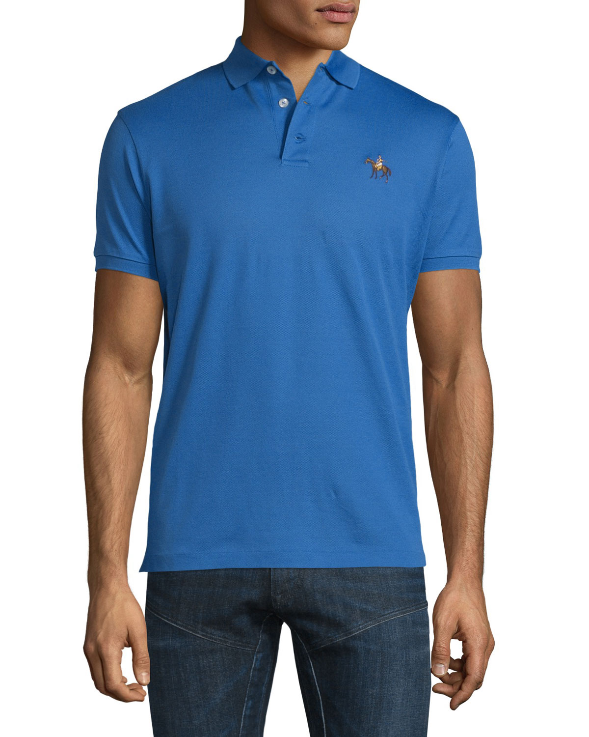 Pony-Embroidery Short-Sleeve Pique Polo Shirt, Blue
