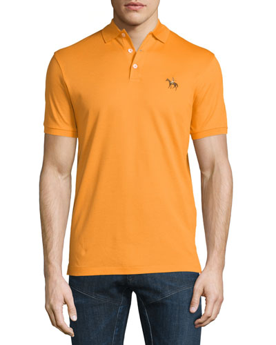Embroidered-Pony Short-Sleeve Pique Polo Shirt, Orange