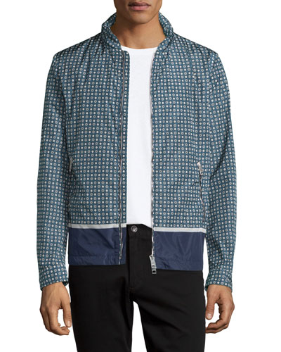 Printed Lightweight Nylon Blouson Jacket, Navy