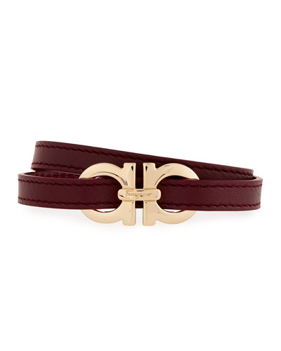 Gancini Leather Wrap Bracelet, Wine