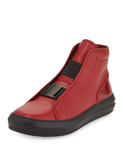 Ground Buckle-Front Calfskin High-Top Sneaker, Red