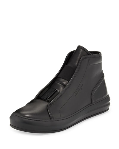 Ground Buckle-Front Calfskin High-Top Sneaker, Black