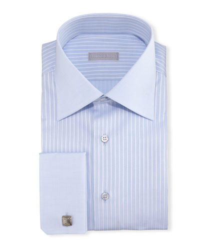 Contrast-Collar French-Cuff Striped Dress Shirt, Light Blue