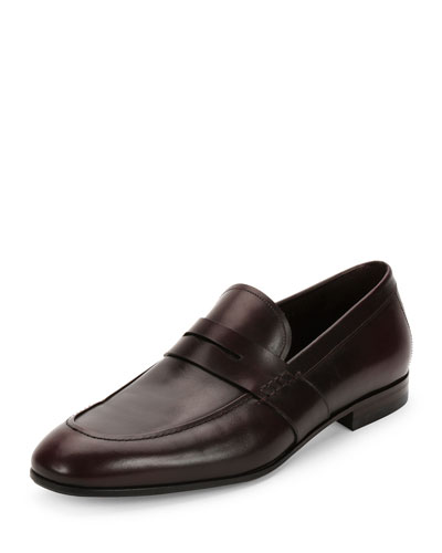 Gaudo Calfskin Penny Loafer, Wine
