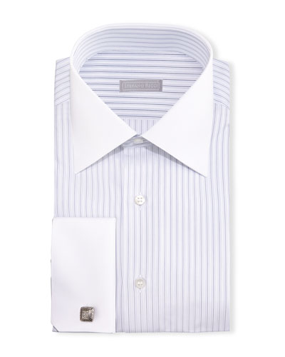 Contrast-Collar French-Cuff Striped Dress Shirt, Blue