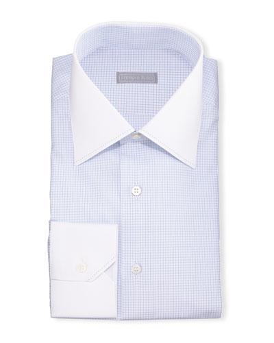 Contrast-Collar Check Dress Shirt, Blue
