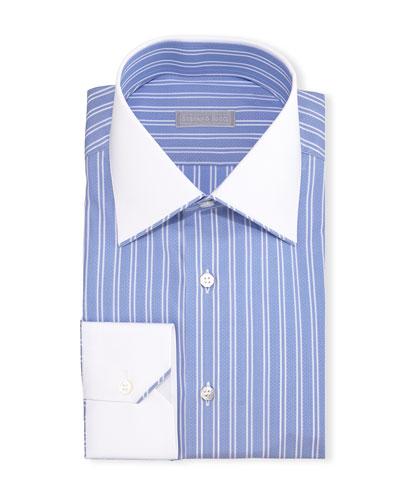 Contrast-Collar Bold-Stripe Dress Shirt, Blue