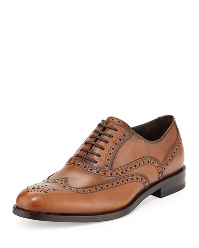 Calfskin Wing-Tip Lace-Up Oxford, Light Brown