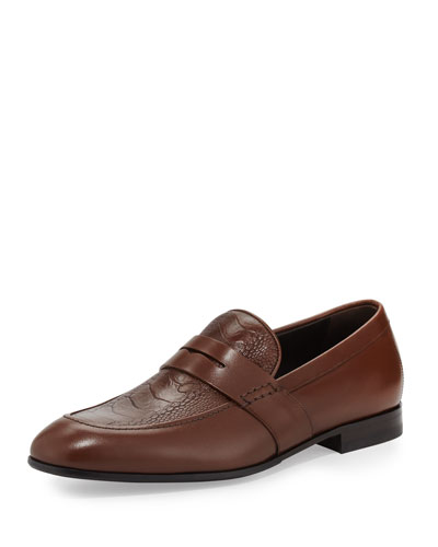 Gaudo 2 Calfskin Penny Loafer with Ostrich Leg Vamp, Light Brown