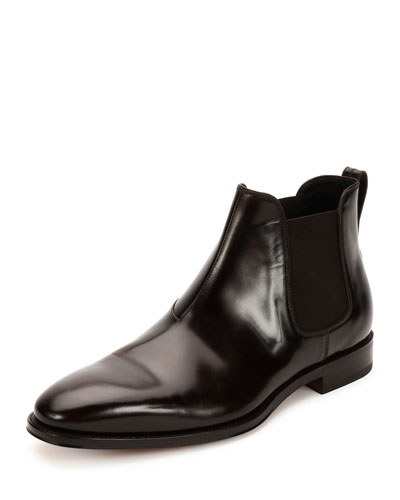 Giotto Polished Calfskin Chelsea Boot, Dark Brown