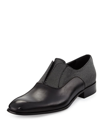 Calfskin and Metallic Fabric Slip-On Loafer, Black