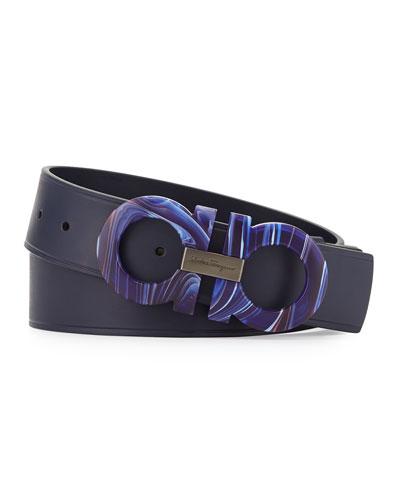 Mini Big Double-Gancini Leather Belt, Blue Marine