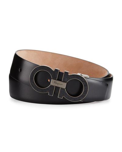 Double Gancini Leather Belt, Black