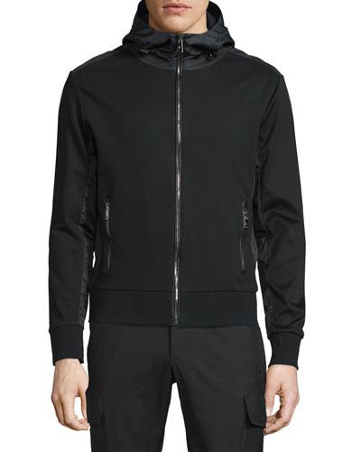 Full-Zip Hooded Nylon Jacket with Leather Trim, Black