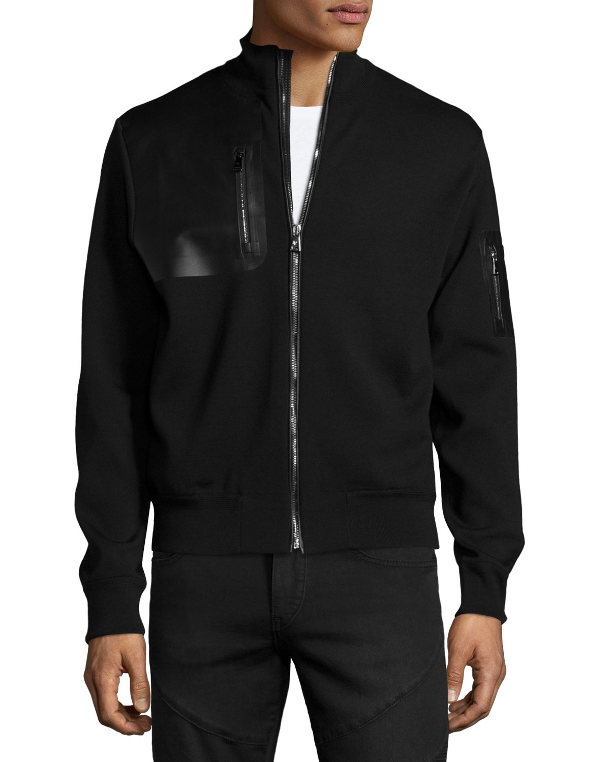 Full-Zip Jacket with Leather Trim, Black
