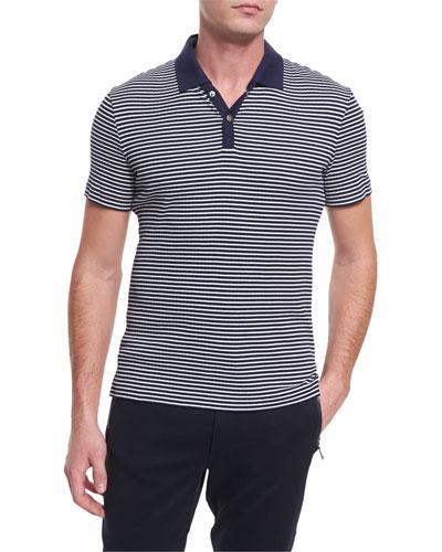 Striped Short-Sleeve Polo Shirt, Blue/White
