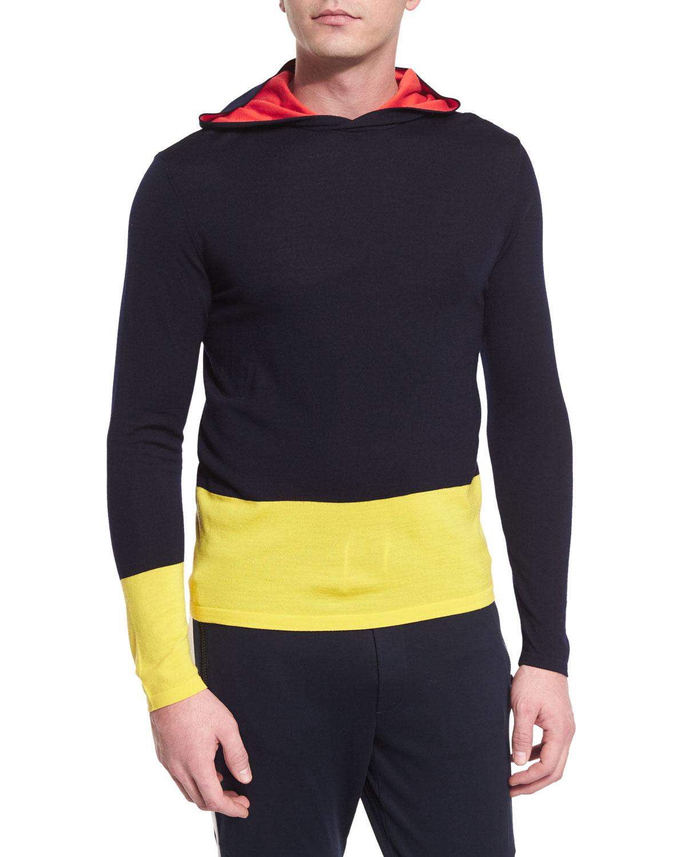 Colorblock Knit Hoodie, Navy