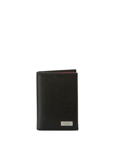 Revival Leather Bi-Fold Card Case, Black/Red