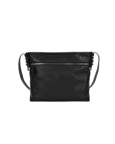 Men's Gancini-Embossed Vegan-Leather Shoulder Bag