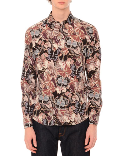 Camu Butterfly Long-Sleeve Sport Shirt, Navy/Pink Multi